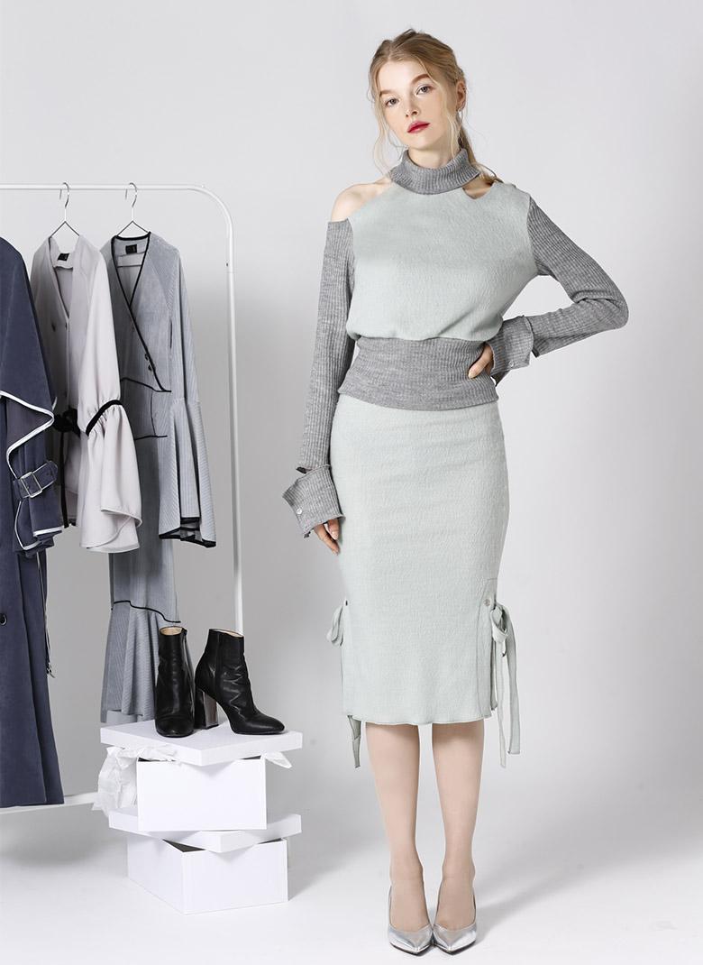 Side ribbon tight knit skirt