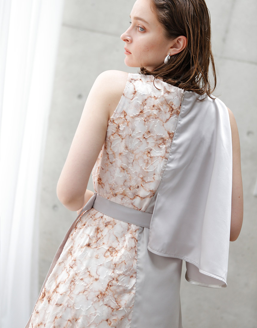 Asymmetry marble dress