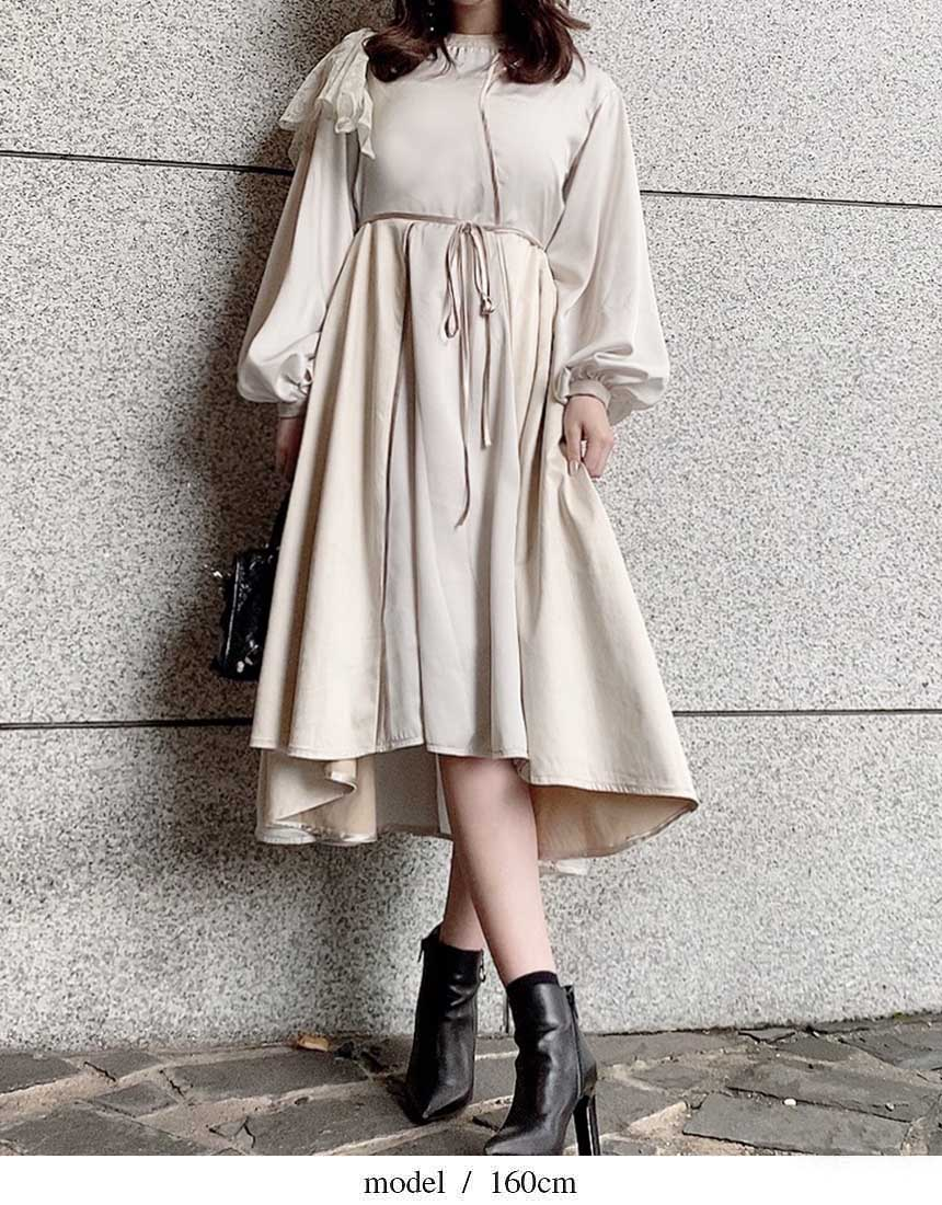 Material mix piping dress