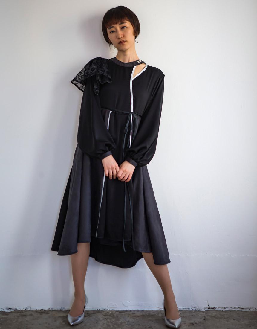 Material mix piping dress