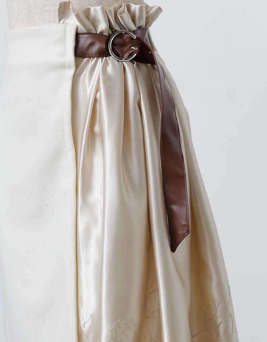 Flower scallop docking wool skirt