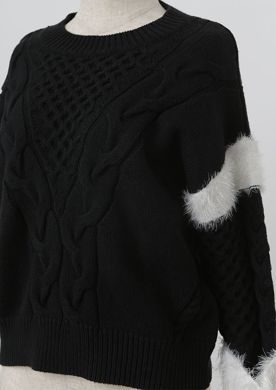 【再入荷】Shaggy cuffs cable knit