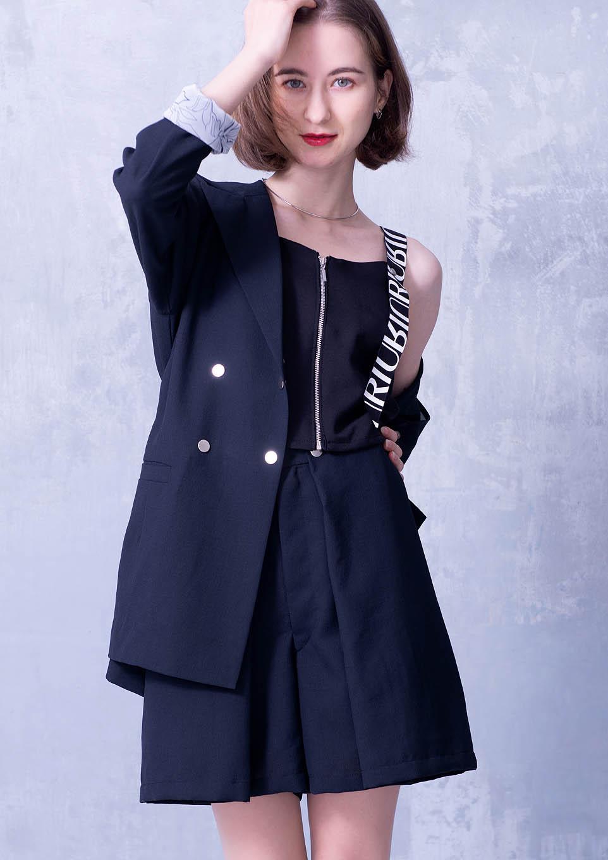 Cross belt tailored jacket
