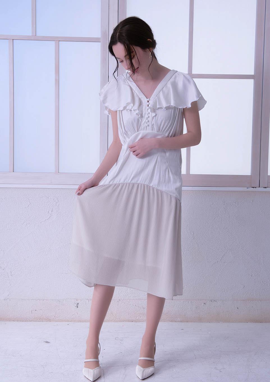 Hem pleats piping dress