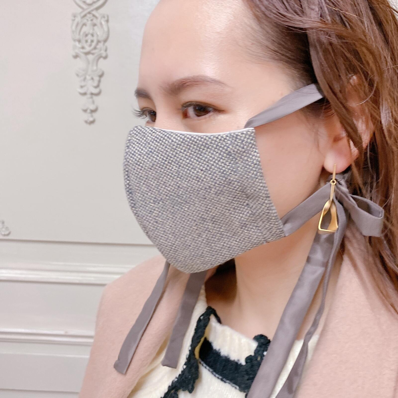 マスク Tweed Ribbon Mask