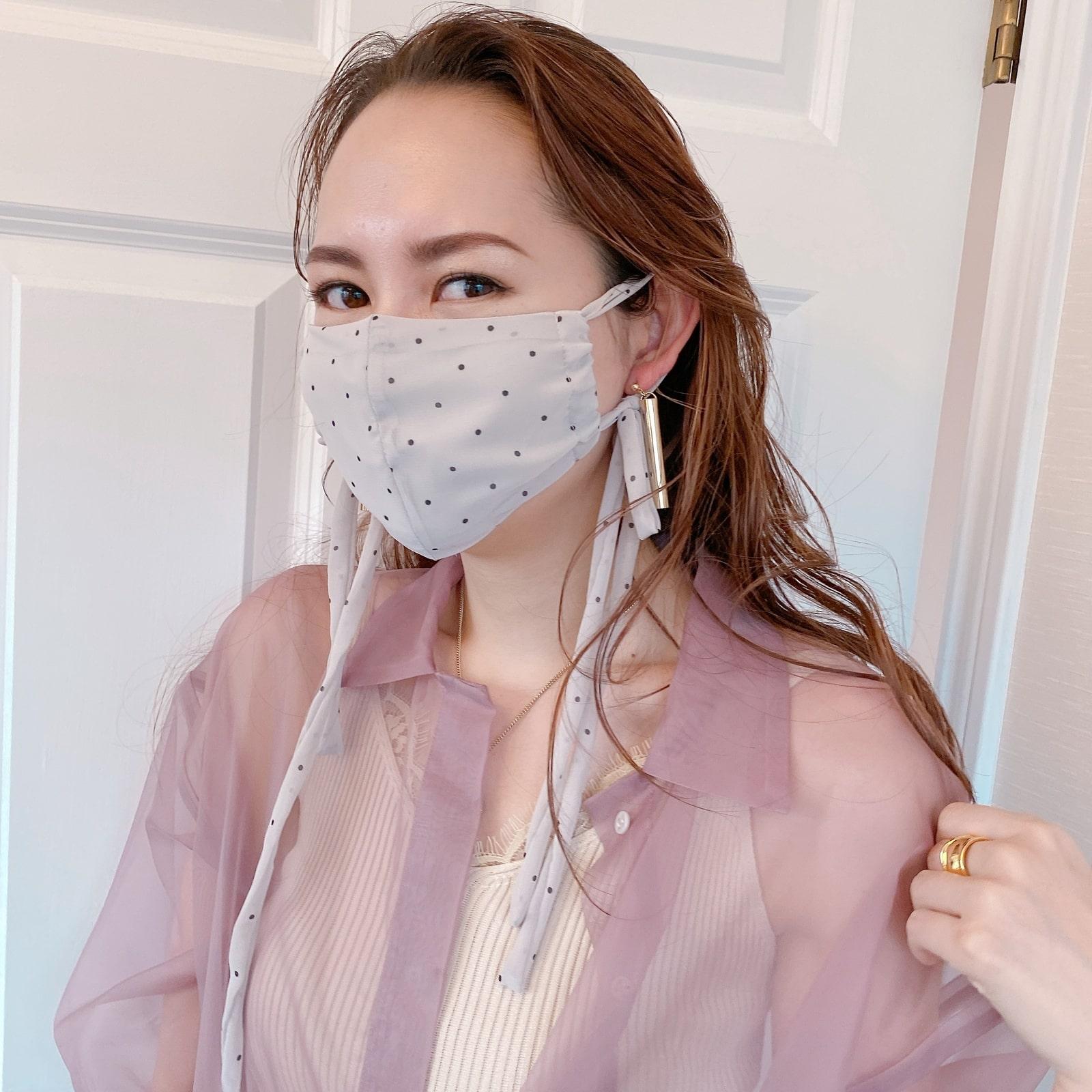 マスク Dot Chiffon Ribbon Mask