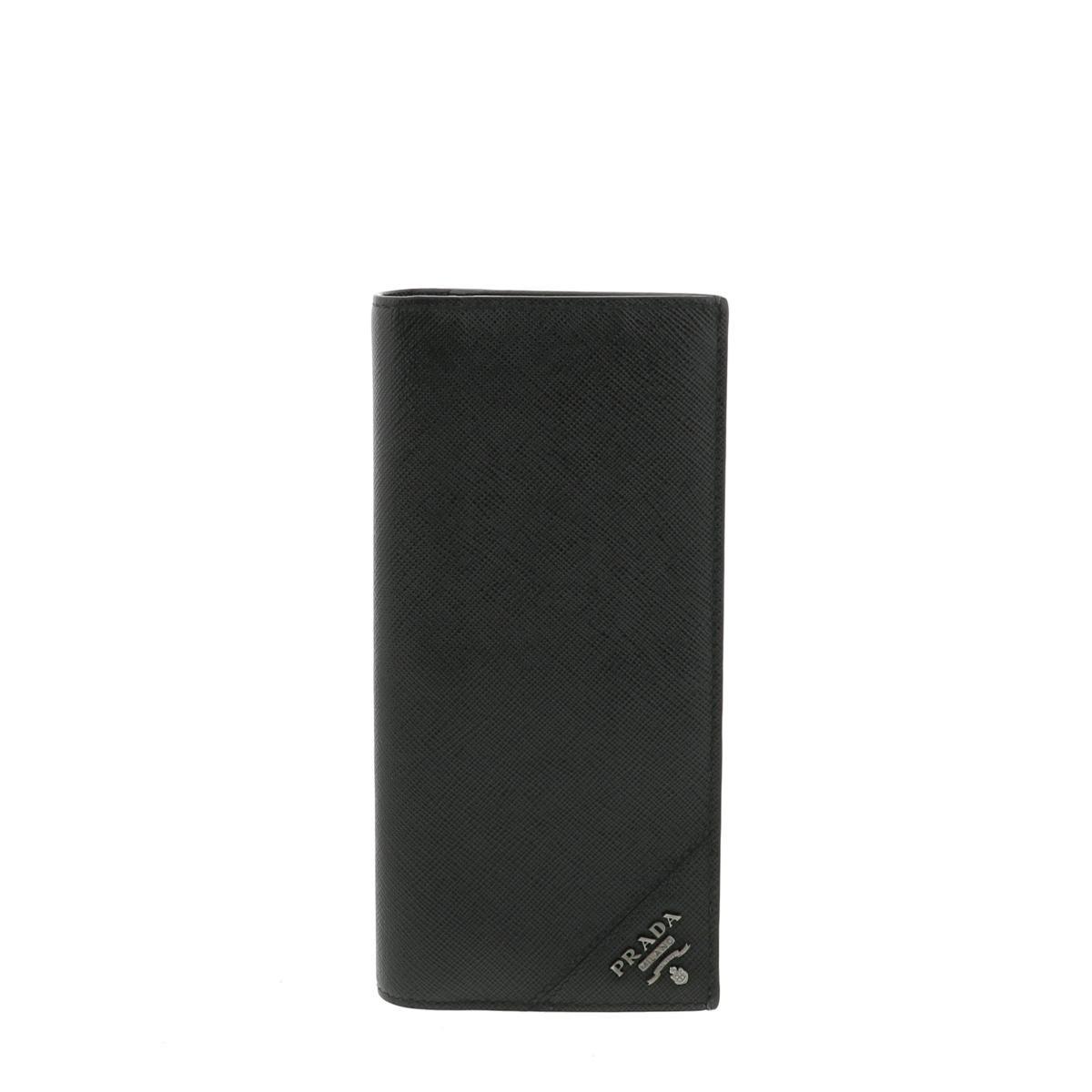 【中古】PRADA プラダ サフィアーノ 二つ折り長財布 財布 長財布(小銭入有)  Black/ブラック 2MV836 used:A