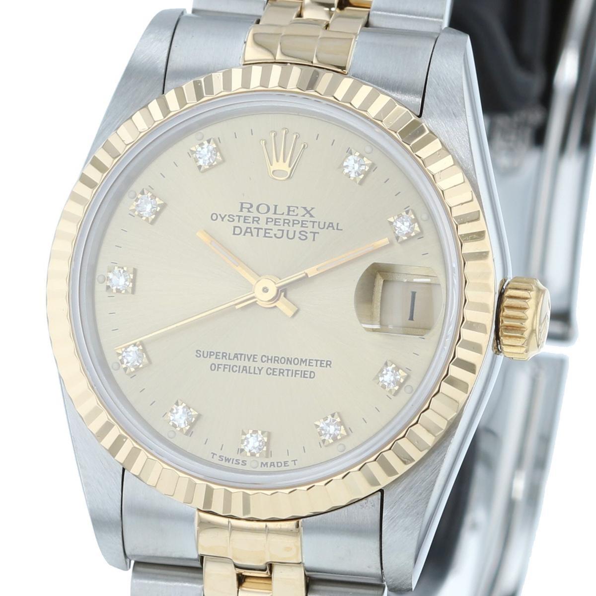【中古】ROLEX ロレックス デイトジャスト 31� Gold 10P 時計 自動巻き/ボーイズ DATEJUST シャンパンゴールド 10Pダイヤインデックス 68273G S番 used:B
