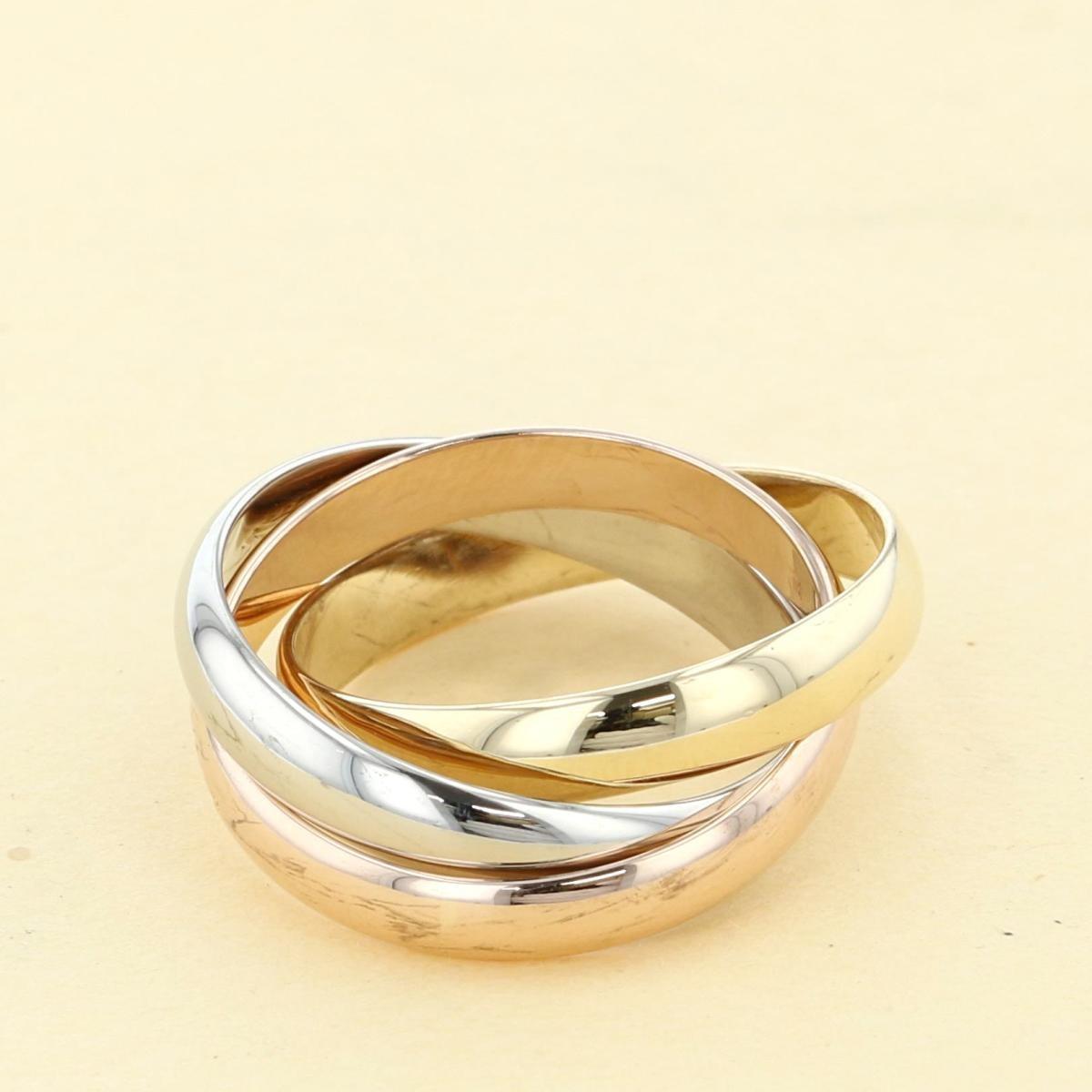 【中古】 Cartier (カルティエ) トリニティリング 750WG/PG/YG ブランドジュエリー 指輪 TRINITY RING 3-GOLD 18K  B4086100 used:A