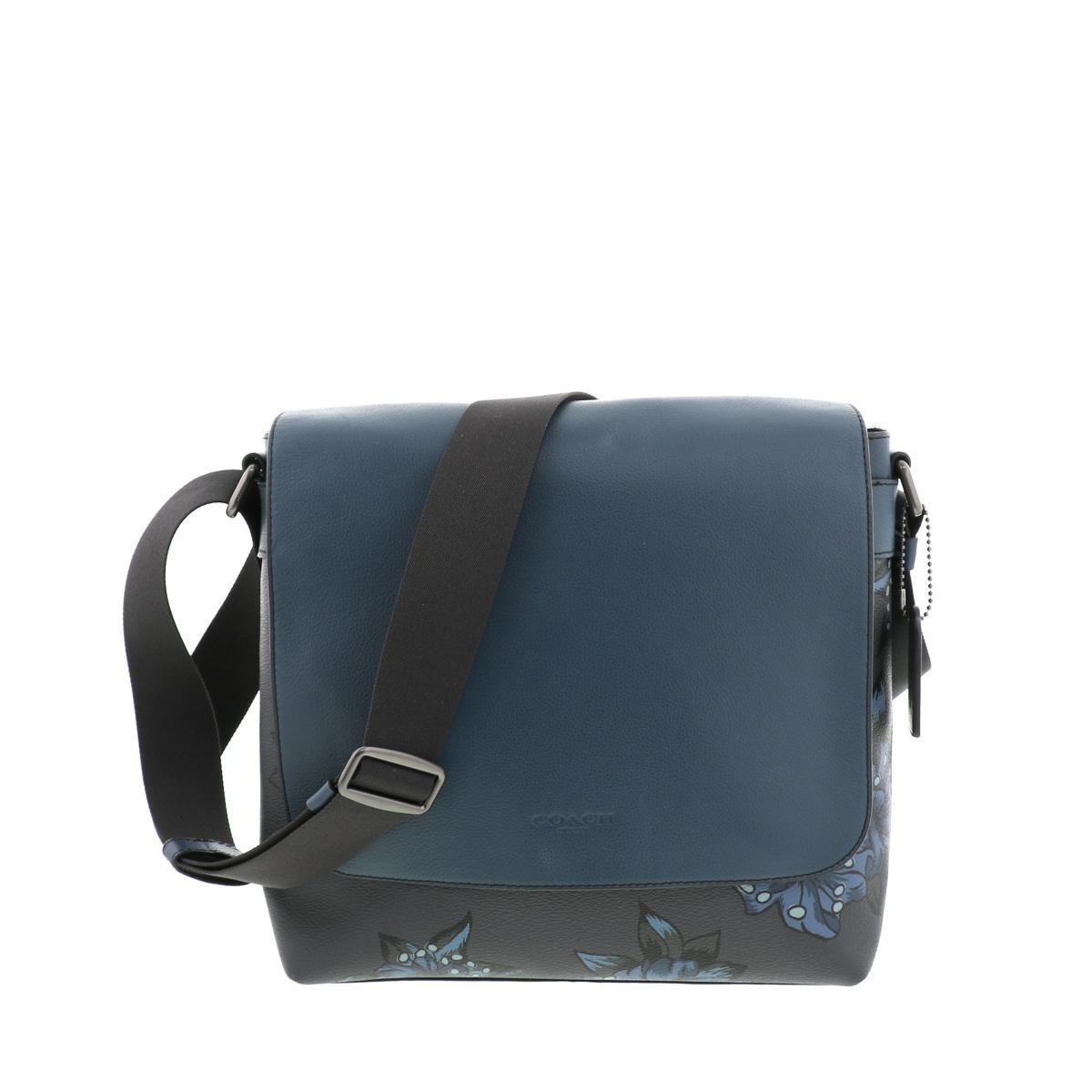 【中古】COACH (コーチ) ハワイアン プリント クロスボディ バッグ ショルダー/メッセンジャーバッグ  Blue F29026 used:A