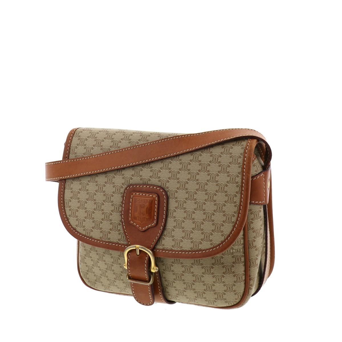 【中古】セリーヌ ヴィンテージ マカダム ショルダーバッグ ベージュ CELINE Vintage Macadam Shoulder Bag