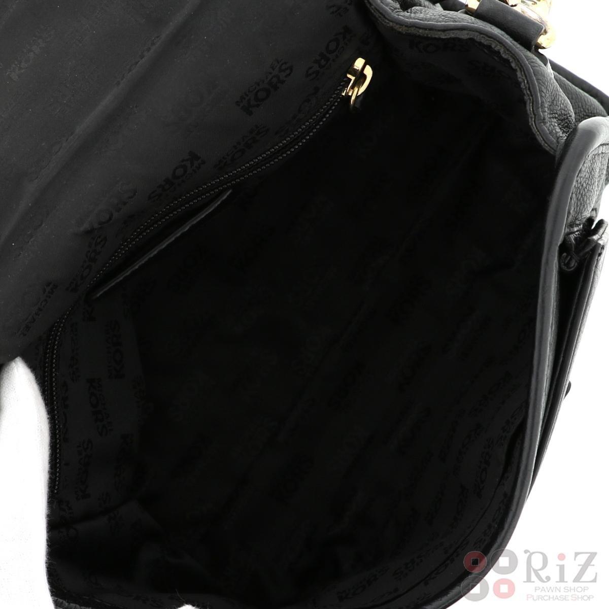 【中古】Michael Kors (マイケルコース) レザー ショルダーバッグ Black バッグ ショルダー/メッセンジャーバッグ  Black/ブラック  used:A
