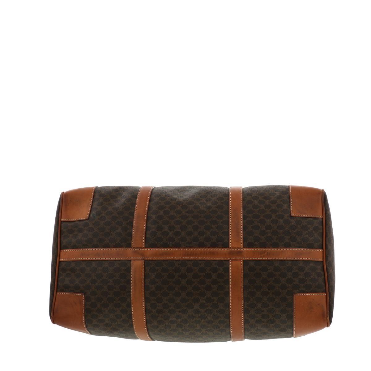 【中古】セリーヌ マカダム ボストンバッグ ブラウン CELINE Macadam Travel Bag Brown