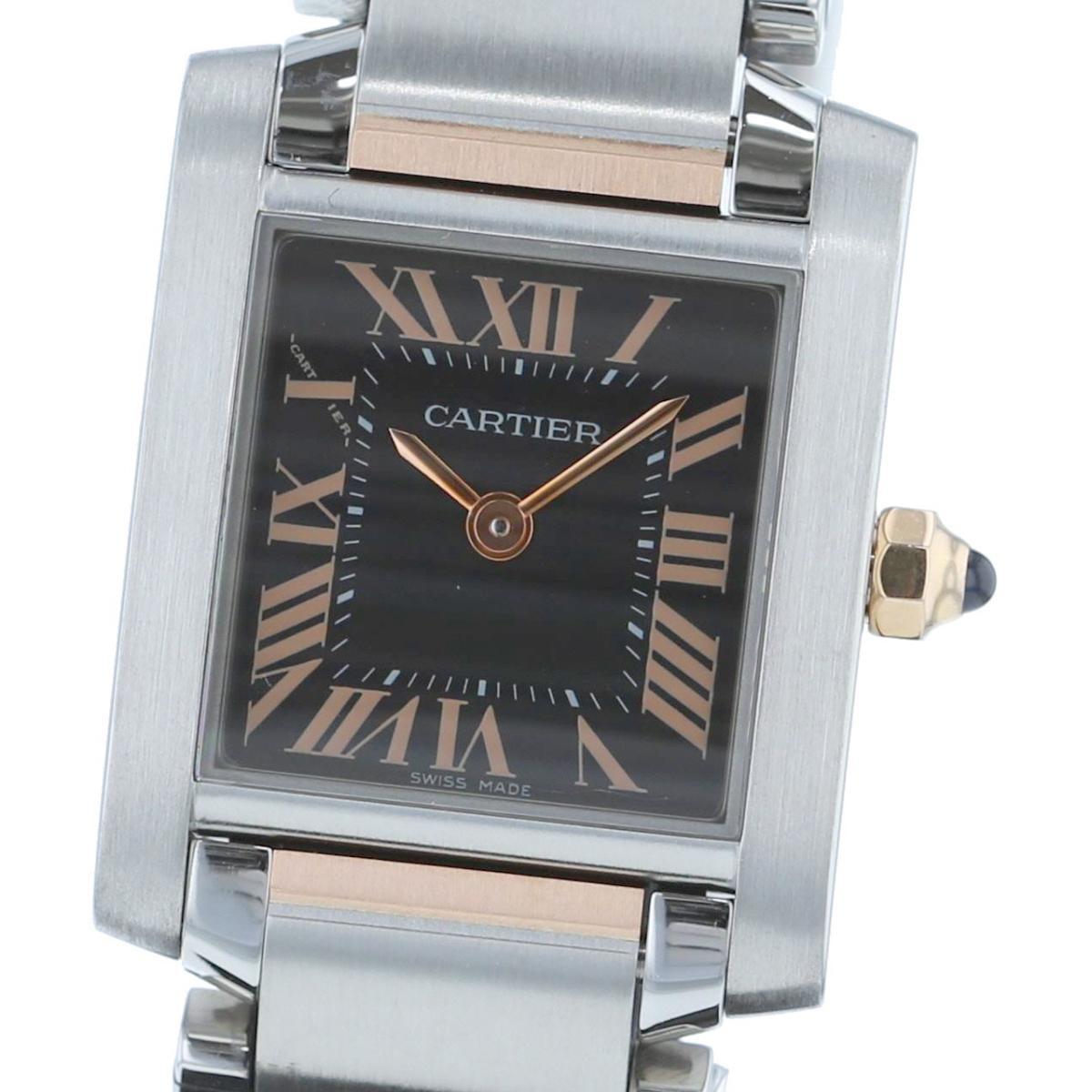 【お値下げ品】【中古】 Cartier (カルティエ) タンクフランセーズ2009年Xmas限定 時計 クオーツ/レディース TANK FRANCAISE Black W5010001 used:A