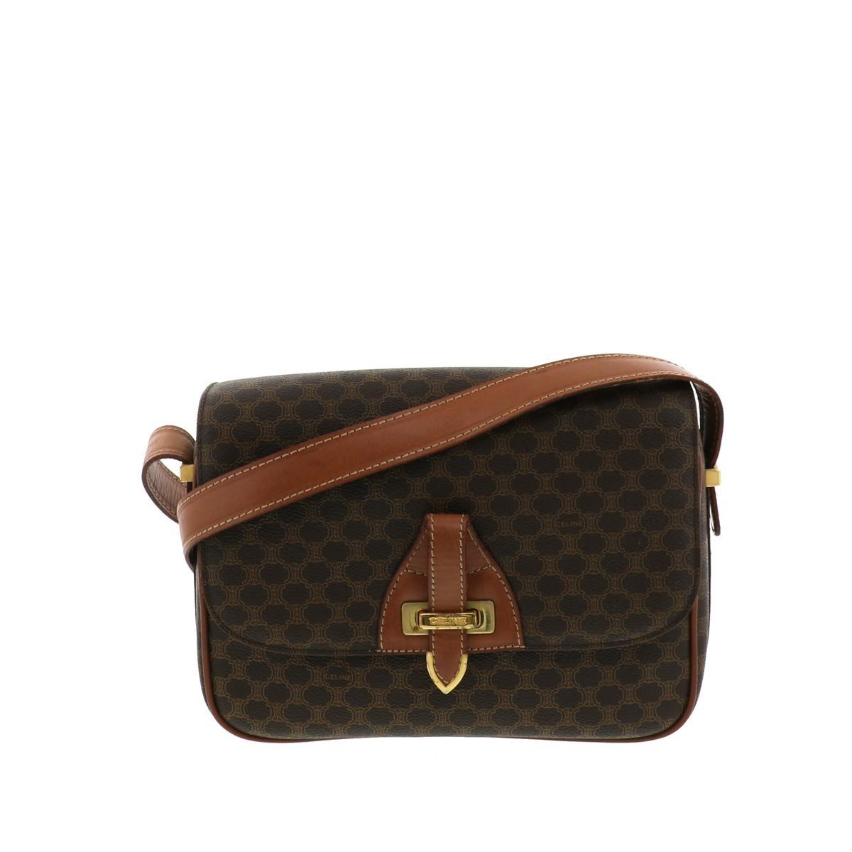 【中古】セリーヌ マカダム ショルダーバッグ ブラウン CELINE Macadam Shoulder Bag Brown