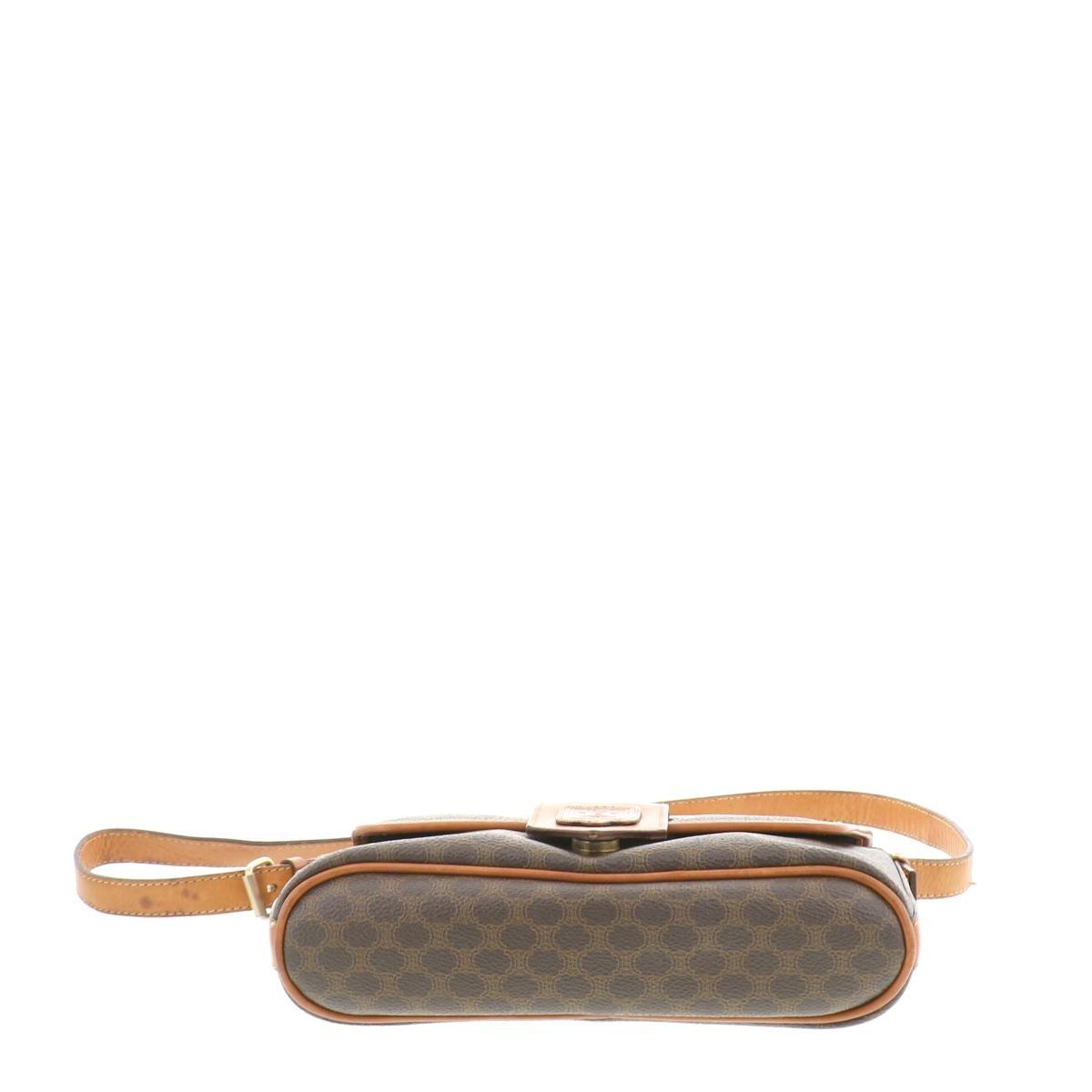 【中古】セリーヌ ヴィンテージ マカダム ショルダーバッグ ブラウン CELINE Vintage Macadam Shoulder Bag Brown