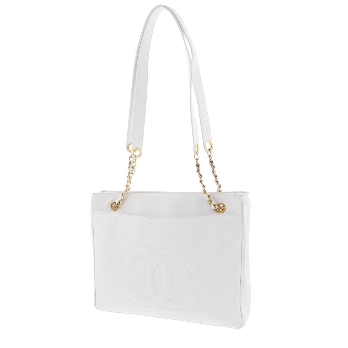 【中古】 CHANEL (シャネル) キャビアスキン チェーントートバッグ White GD金具 バッグ トートバッグ  ホワイト