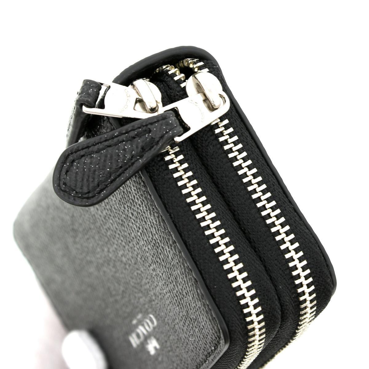 【美品】【中古】COACH コーチ グリッター クロスグレーン コインケース 財布 小銭入れ/コインケース Coin Case Black/ブラック F15153 unused:S