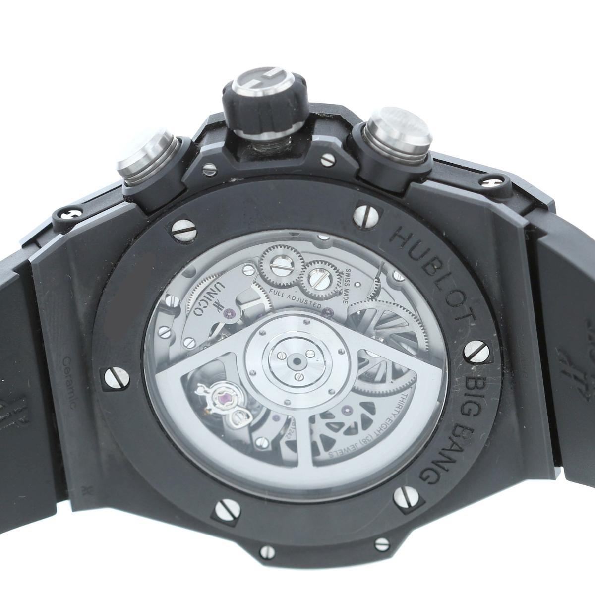 【即日発送・水曜定休日・木曜発送】【美品】【RI】 HUBLOT (ウブロ) ビッグバン ウニコ ブラックマジック 時計 自動巻き/メンズ BIG BANG UNICO BLACK MAGIC Silver/シルバー 411.CI.1170.RX used:A
