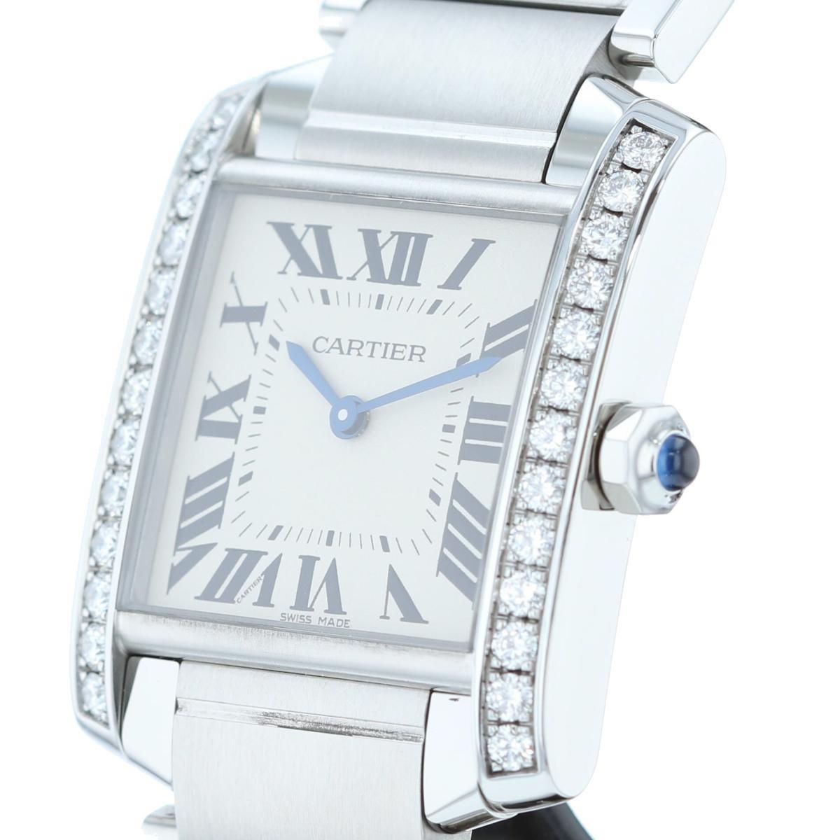 【即日発送・水曜定休日・木曜発送】【美品】【中古】【RI】 Cartier (カルティエ) タンクフランセーズMM ダイヤベゼル 時計 TANK FRANCAISE White/ホワイト W4TA0009 used:A