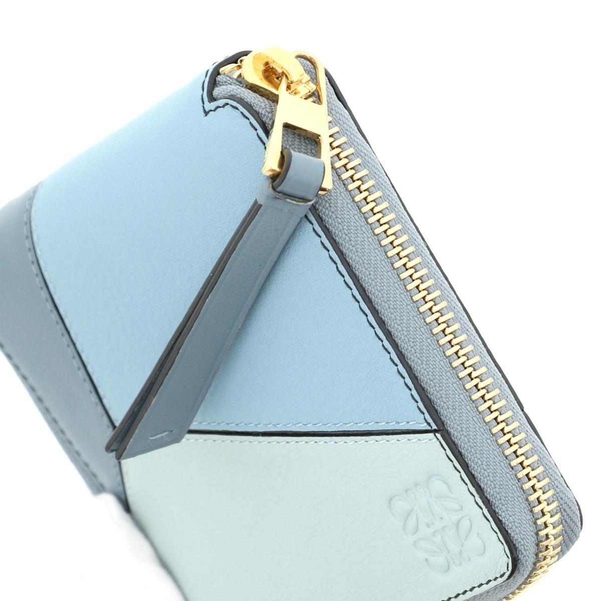 【即日発送・水曜定休日・木曜発送】【中古】【RI】 LOEWE (ロエベ) パズル スクエアジップアラウンド ウォレット 財布 二つ折り財布(小銭入有) PUZZLE SQUARE ZIP Blue/ブルー 122.30 used:B
