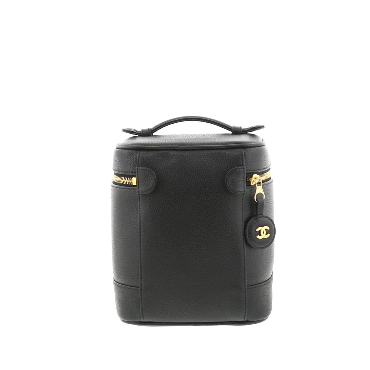 【お値下げ品】【中古】 CHANEL シャネル  巾着/パーティバッグ A01998 ブラック キャビアスキン  バニティバッグ