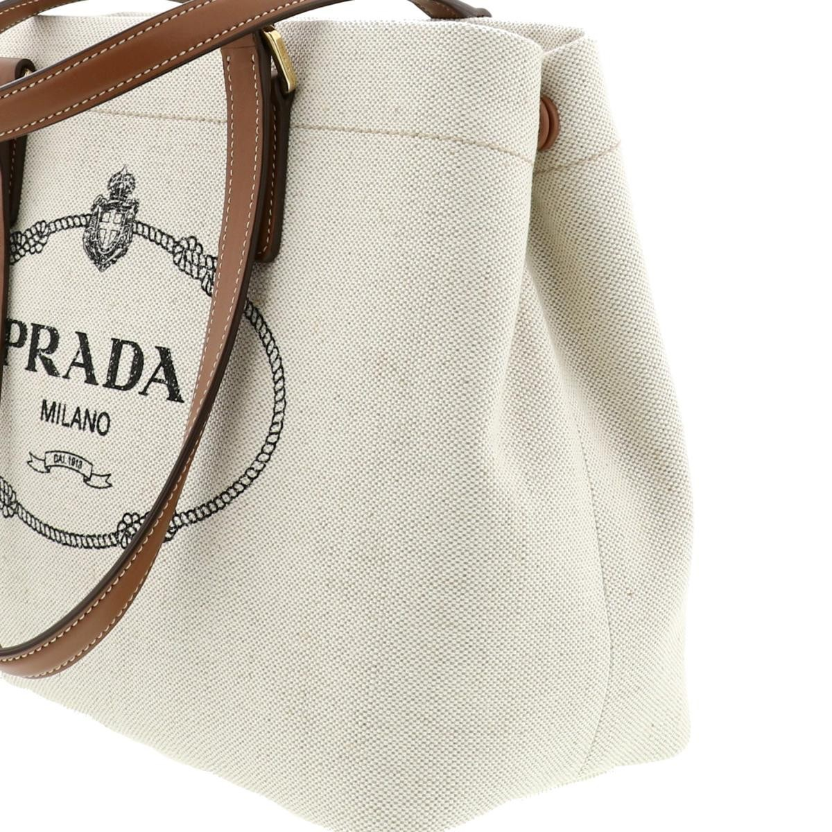 【中古】PRADA プラダ リネンブレンド トートバッグ バッグ ハンドバッグ  Ivory/アイボリー 1BG356 used:A