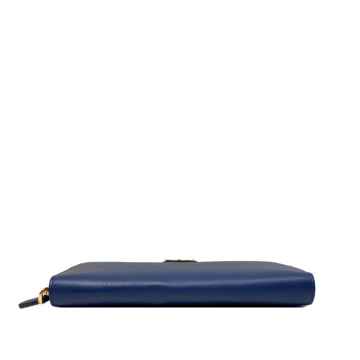 【未使用】【中古】PRADA プラダ ラウンドファスナー長財布 Blue 財布 長財布(小銭入有) SAFFIANO サフィアーノ Blue/ブルー 1ML506 bnwt:N