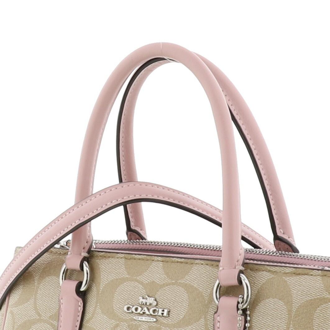【中古】COACH コーチ ミニサリー キャリーオール 2WAYバッグ バッグ ハンドバッグ Signature シグネチャー Pink/ピンク ベージュ F67027 used:A