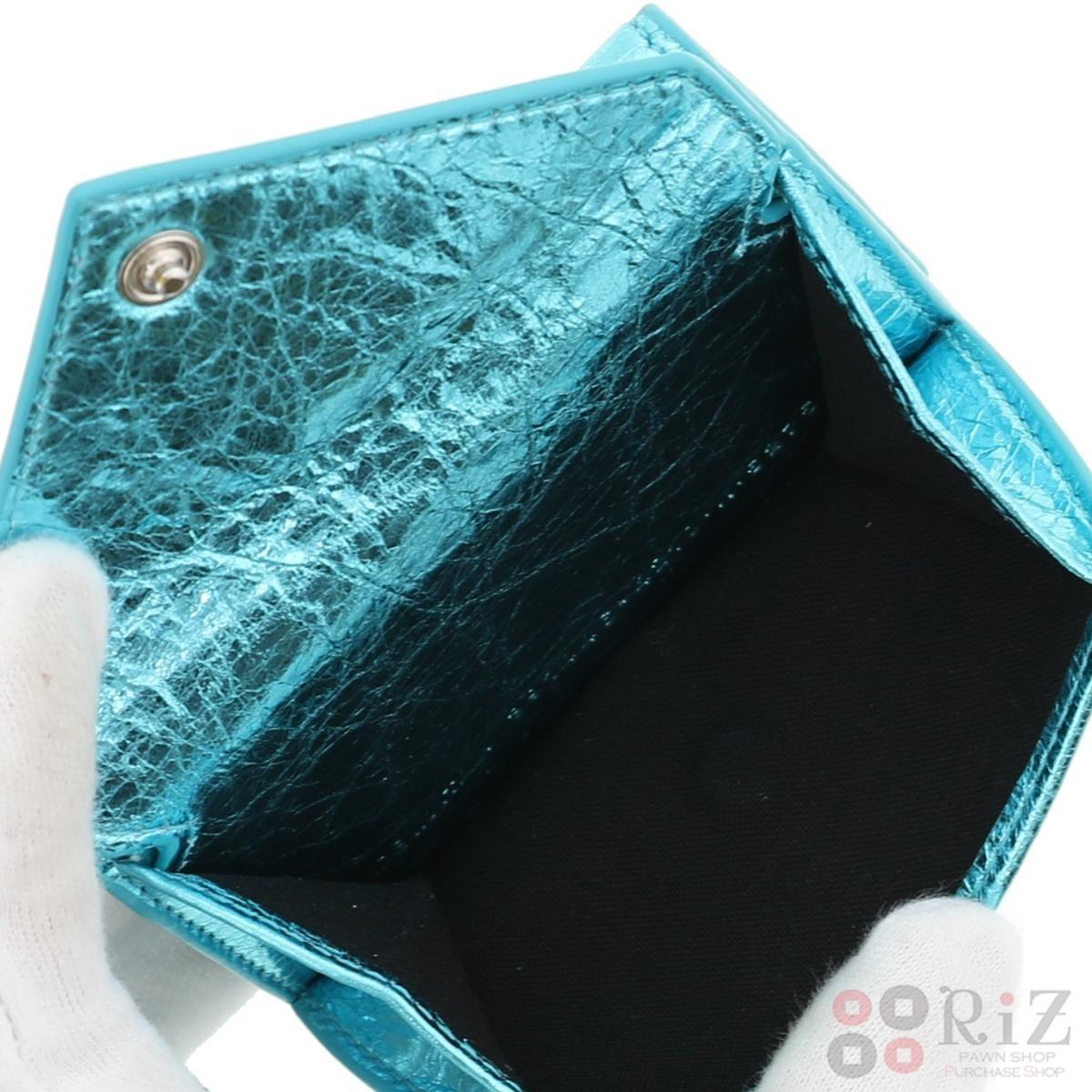 【中古】 BALENCIAGA (バレンシアガ) ペーパー ミニ ウォレット 財布 三つ折り財布(小銭入有) Papier Mini Wallet ブルー 391446 bnwt:N