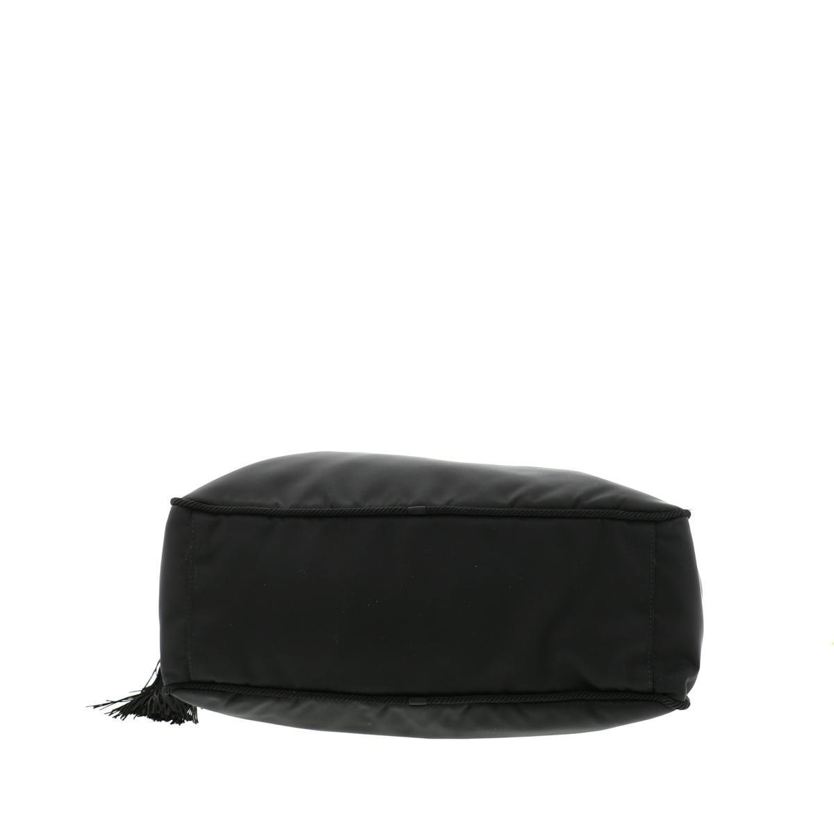 【未使用品】 PRADA プラダ タッセル ナイロン ハンド トート バッグ 1BB014 バッグ  ブラック [ROR]