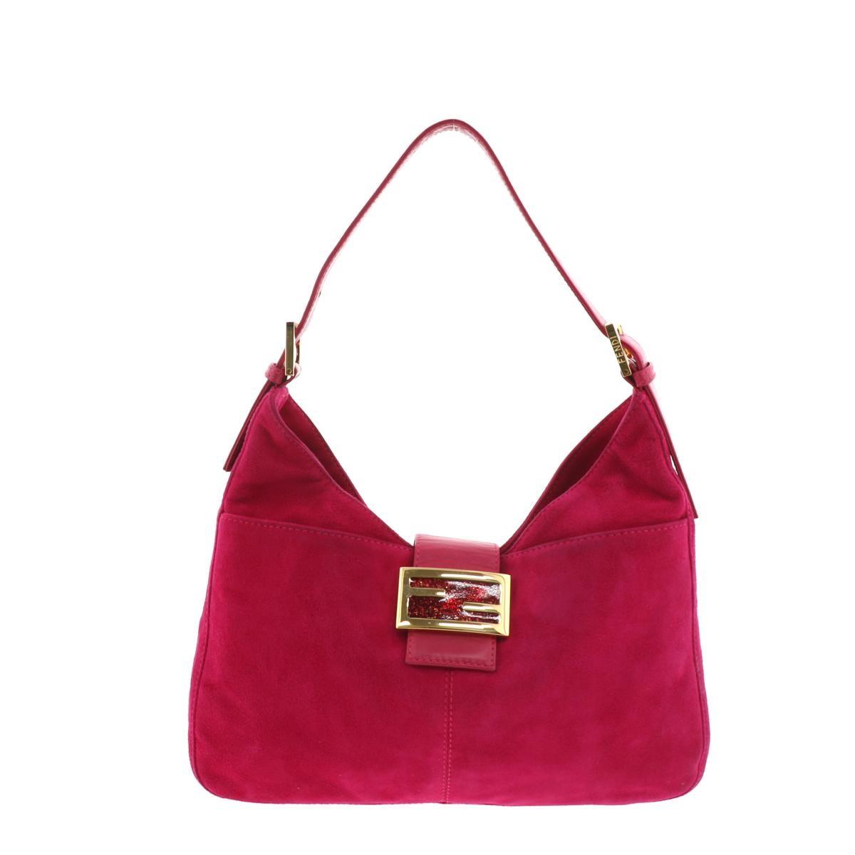 【値下げ中】【中古】フェンディ スエード マンマ バケット ショルダーバッグ ピンク FENDI Mamma Baguette Shoulder Bag Pink