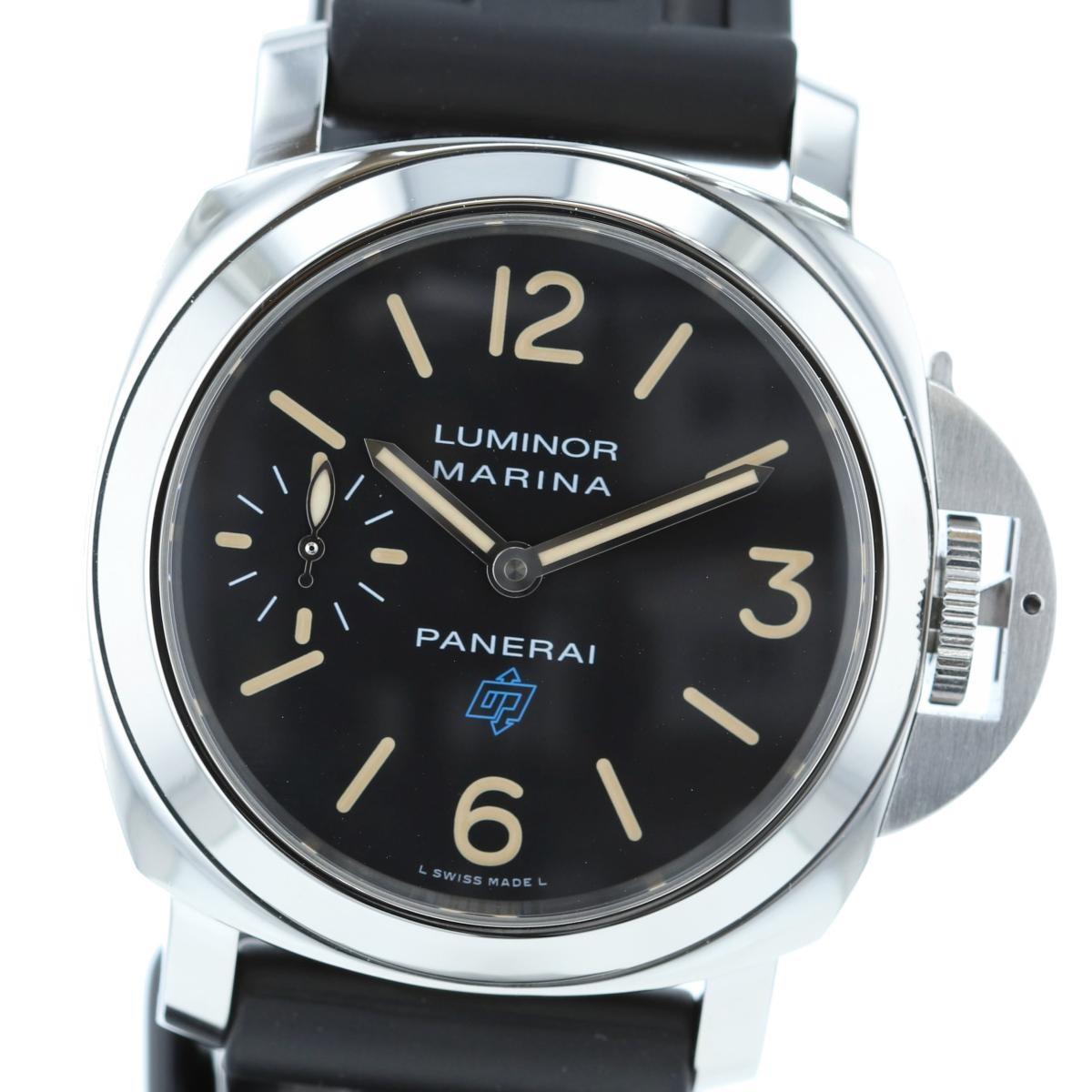 【中古】PANERAI パネライ ルミノール マリーナ Logo アッチャイオ 44� 時計 手巻き/メンズ LUMINOR MARINA Black/ブラック PAM00631 used:A