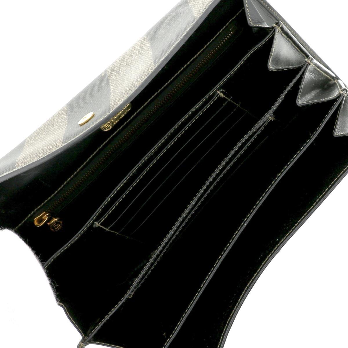【即日発送・水曜定休日・木曜発送】【中古】【RI】FENDI フェンディ  長財布 ブラウン/ブラック PVCコーティングキャンバス ペカン 長財布