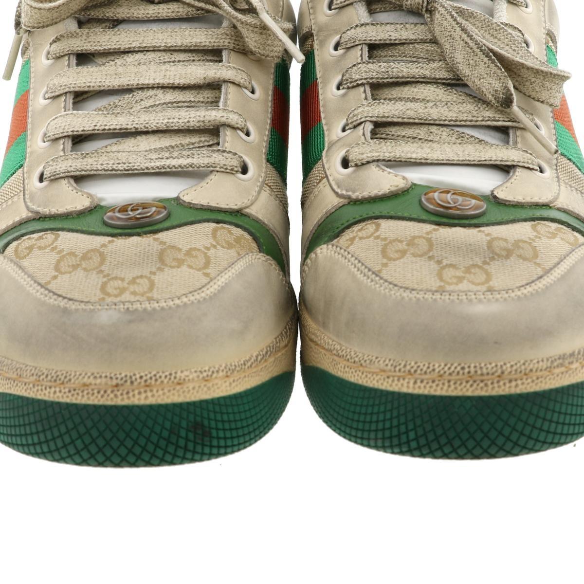 【即日発送・水曜定休日・木曜発送】【美品】【中古】【ヴィンテージ加工】【RI】 GUCCI (グッチ) スクリーナー レザースニーカー 靴 靴/メンズ GGCanvas Green/グリーン 546551 used:A