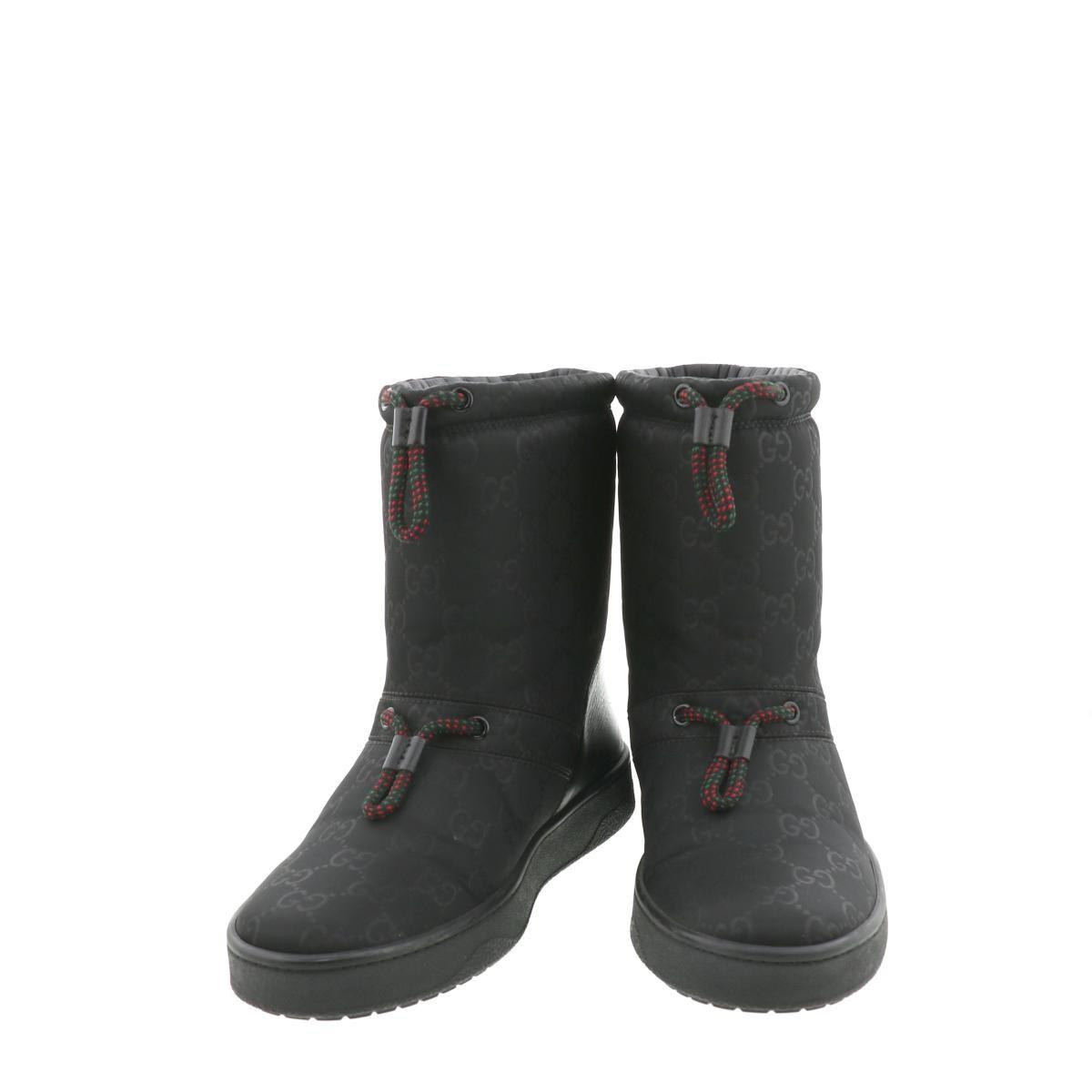 【即日発送・水曜定休日・木曜発送】【美品】【中古】【24cm】【RI】 GUCCI (グッチ) ナイロンレザーショートブーツ 靴 靴/レディース  Black/ブラック