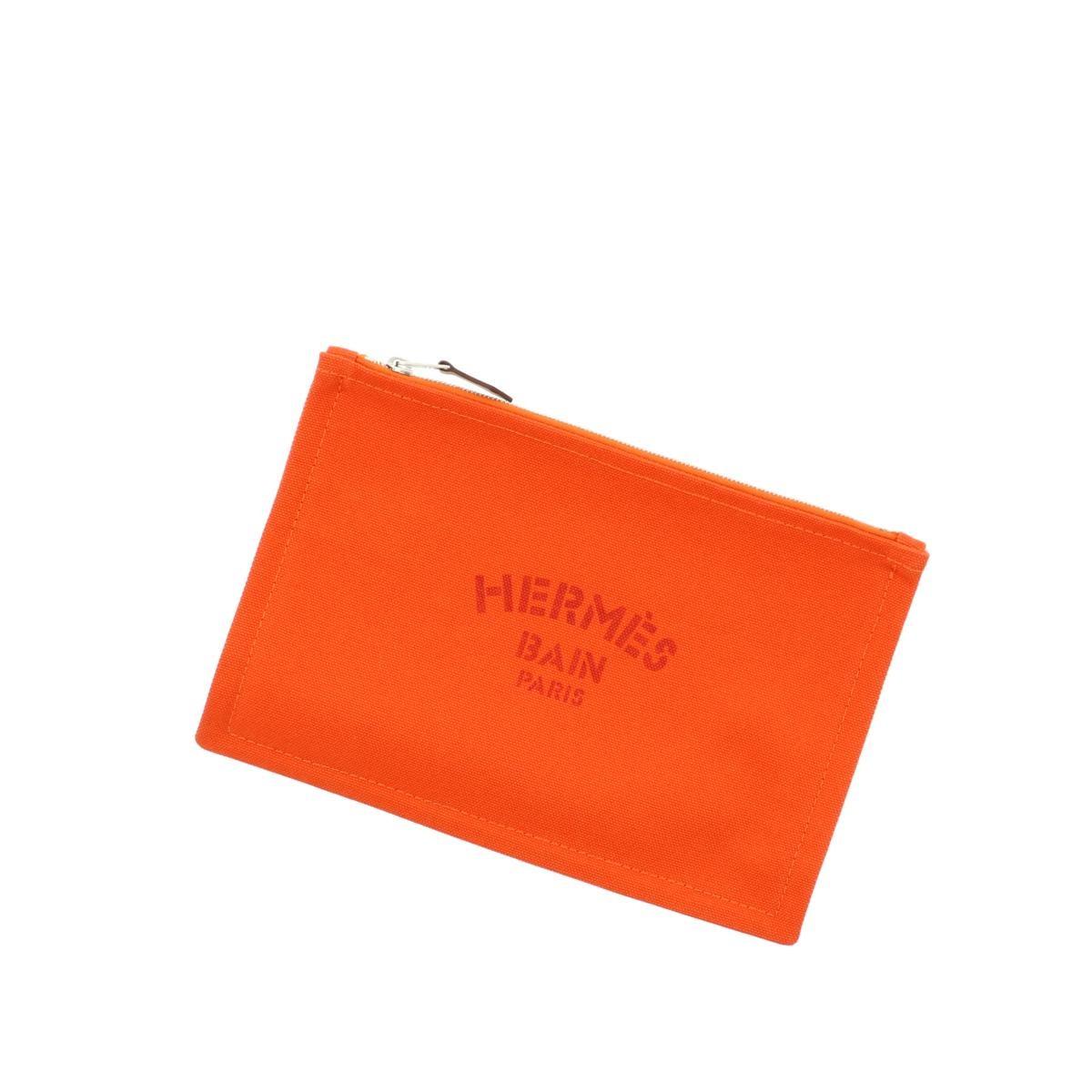【新品】【未使用品】HERMES エルメス フラット ポーチ PM セカンドバッグ ポーチ クラッチ オレンジ [ROH]