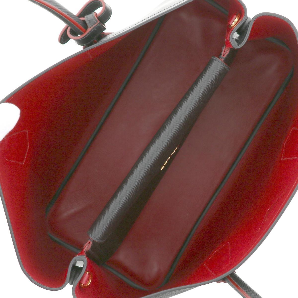 【中古】PRADA プラダ サフィアーノ 2WAY トートバッグ バッグ トートバッグ Saffiano Black/ブラック B2756T used:A