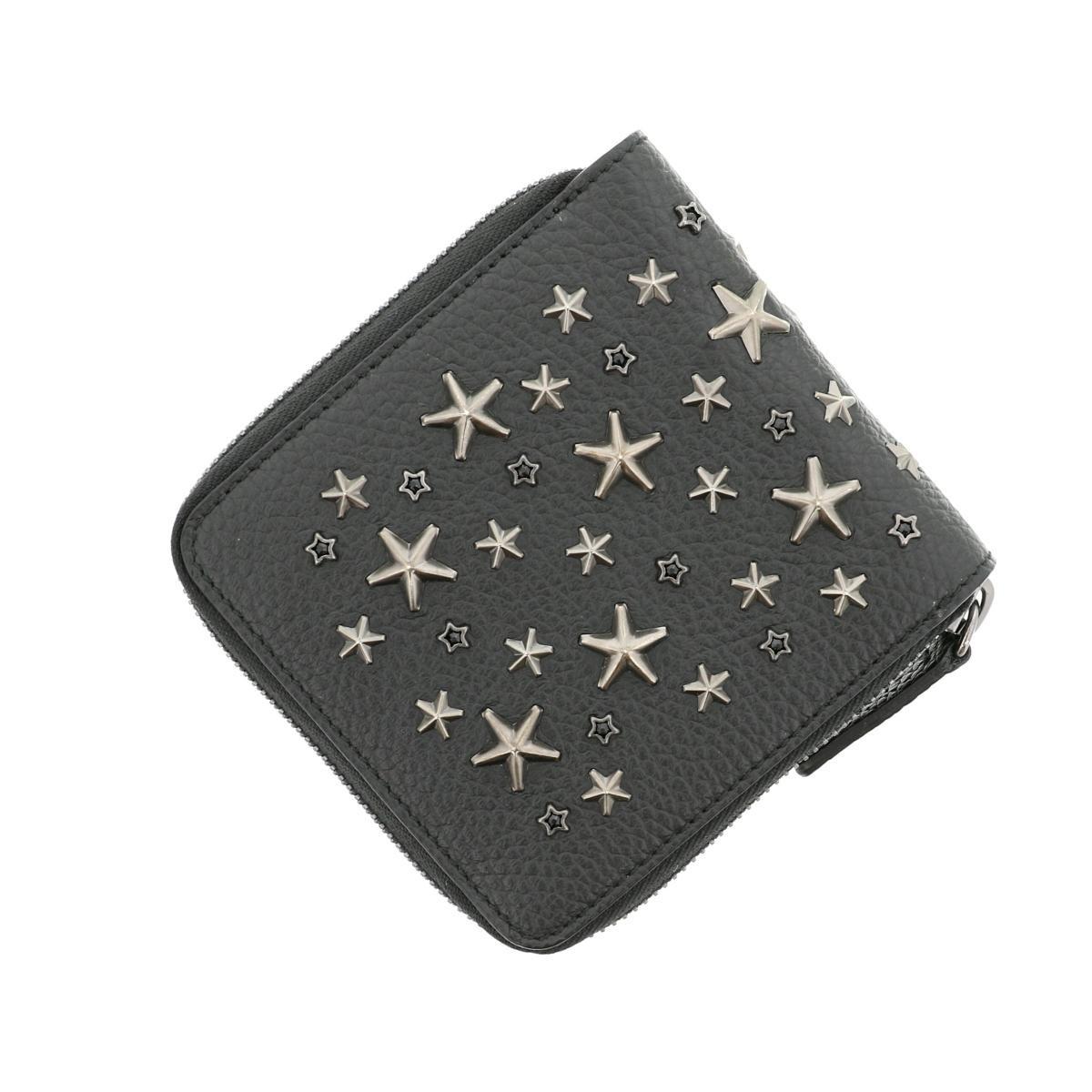 【中古】JIMMY CHOO ジミーチュー TESSA ミディアム ウォレット 財布 二つ折り財布(小銭入有)  Black/ブラック コンパクトウォレット 星 スタッズ スター  used:A