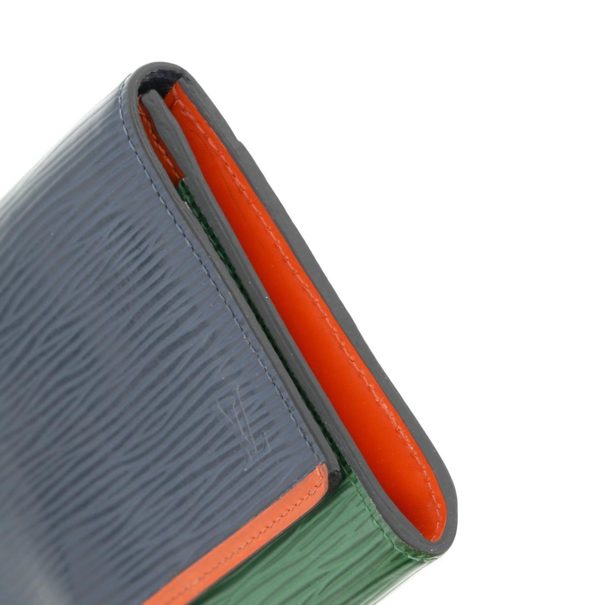【中古】LOUIS VUITTON ルイヴィトン ポルトフォイユ・フロール 財布 長財布(小銭入有)  Navy/ネイビー グリーン オレンジ M60363 used:A