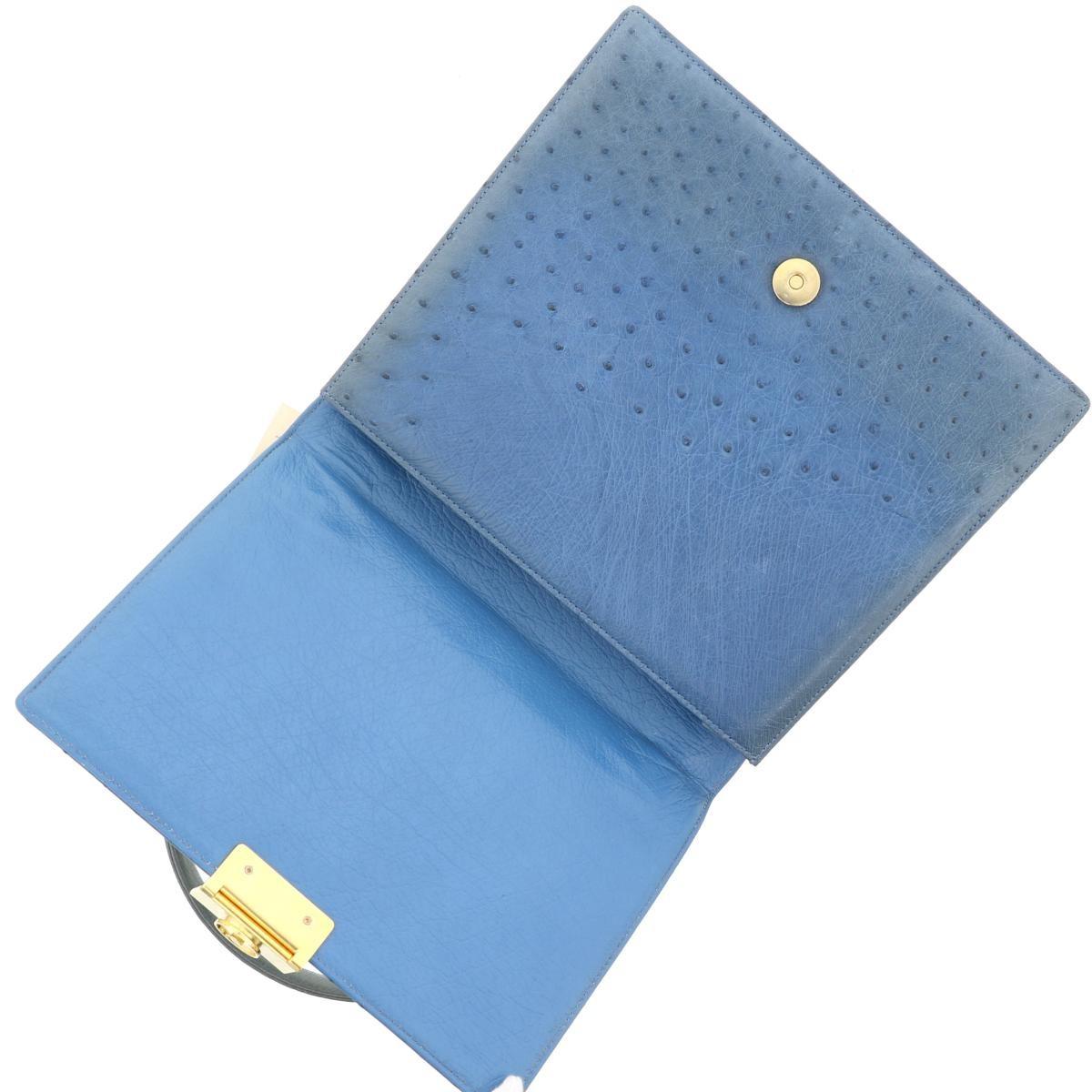 【中古】 ジバンシー オーストリッチハンドバッグ ブルー GIVENCHY OSTRICH PURSE BLUE