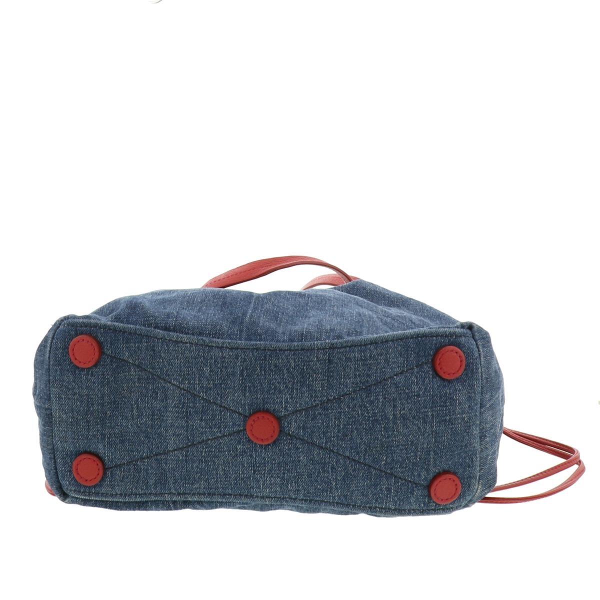 【中古】 MIUMIU (ミュウミュウ) トートバッグ Denim Blue バッグ トートバッグ トートバッグ ブルー・レッド