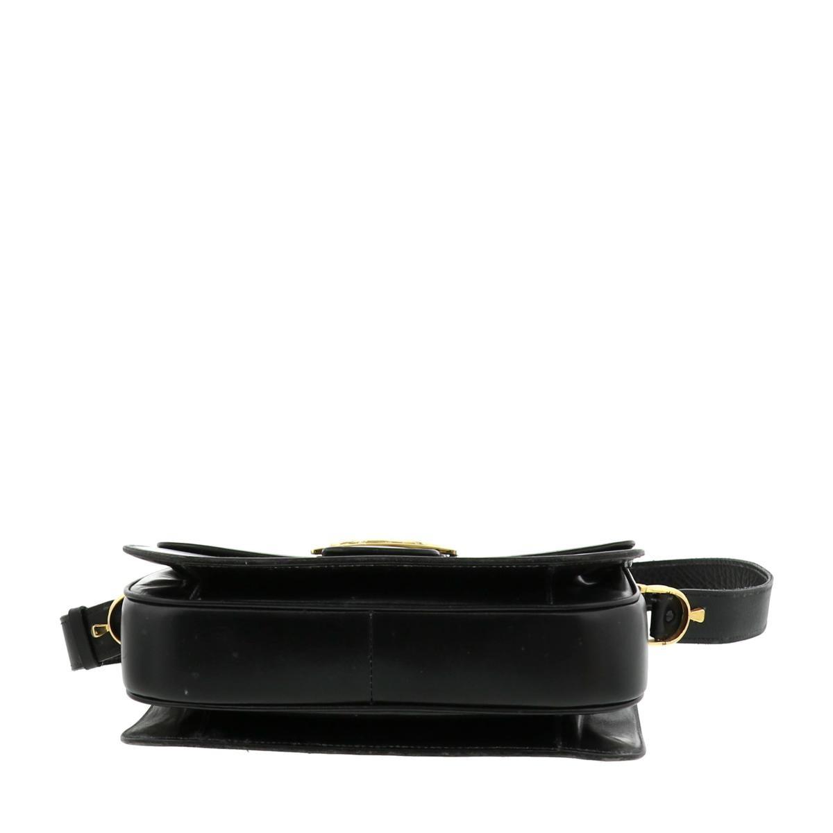【中古】 CELINE (セリーヌ) 馬車金具 ショルダーバッグ サイドボタン取れ バッグ ショルダー/メッセンジャーバッグ ショルダーバッグ ブラック
