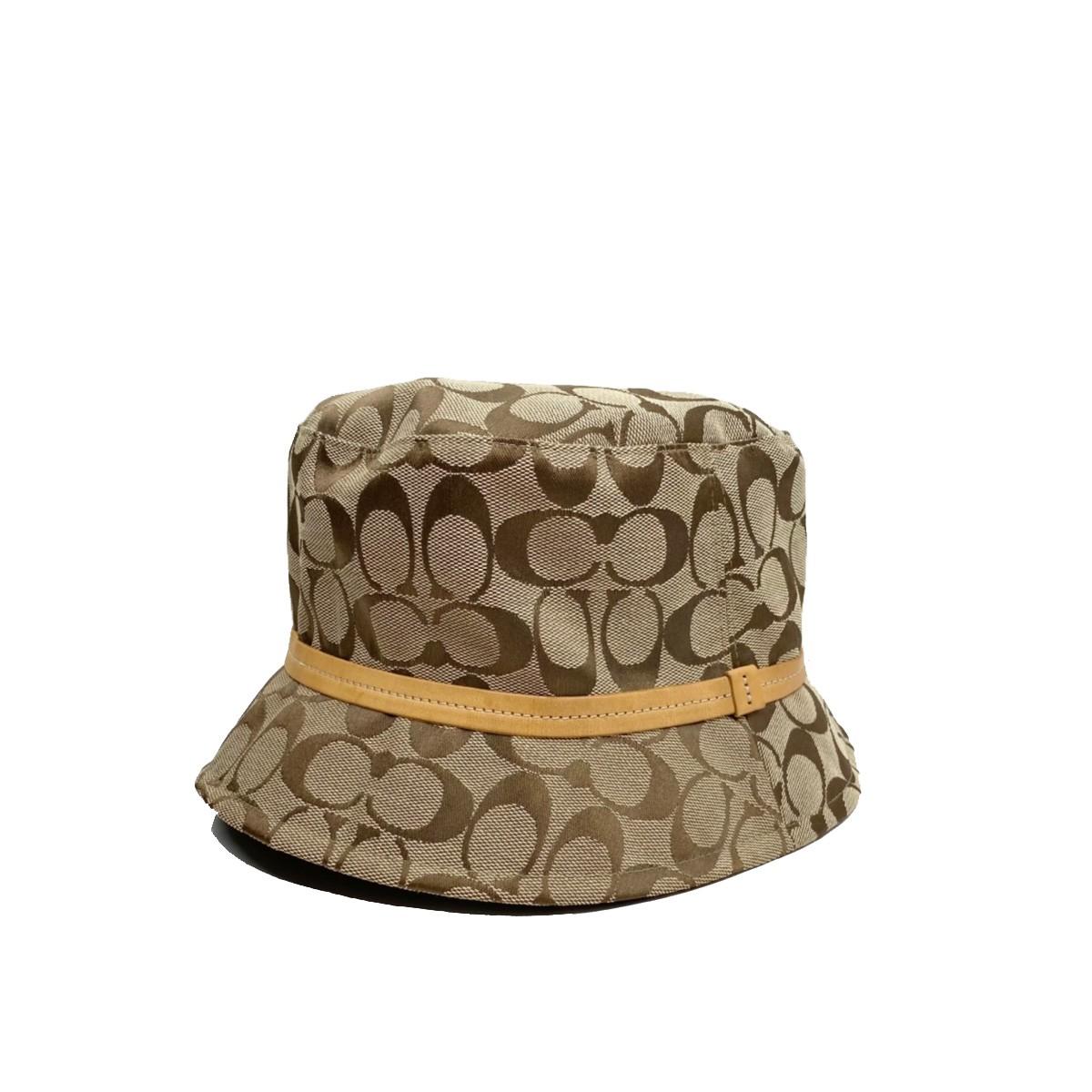 【中古】COACH コーチ シグネチャー ハット 帽子 服飾 帽子  Beige/ベージュ  used:B
