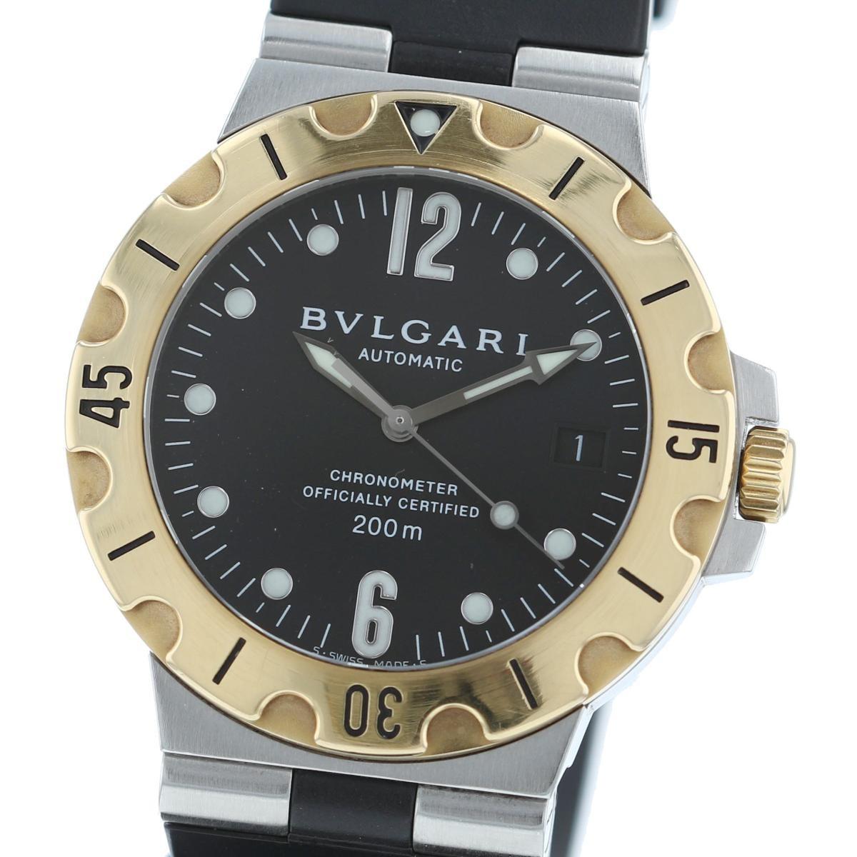 【中古】BVLGARI (ブルガリ) ディアゴノ スクーバ 18K SS 38� 時計 自動巻き/メンズ DIAGONO Black/ブラック SD38SG used:A