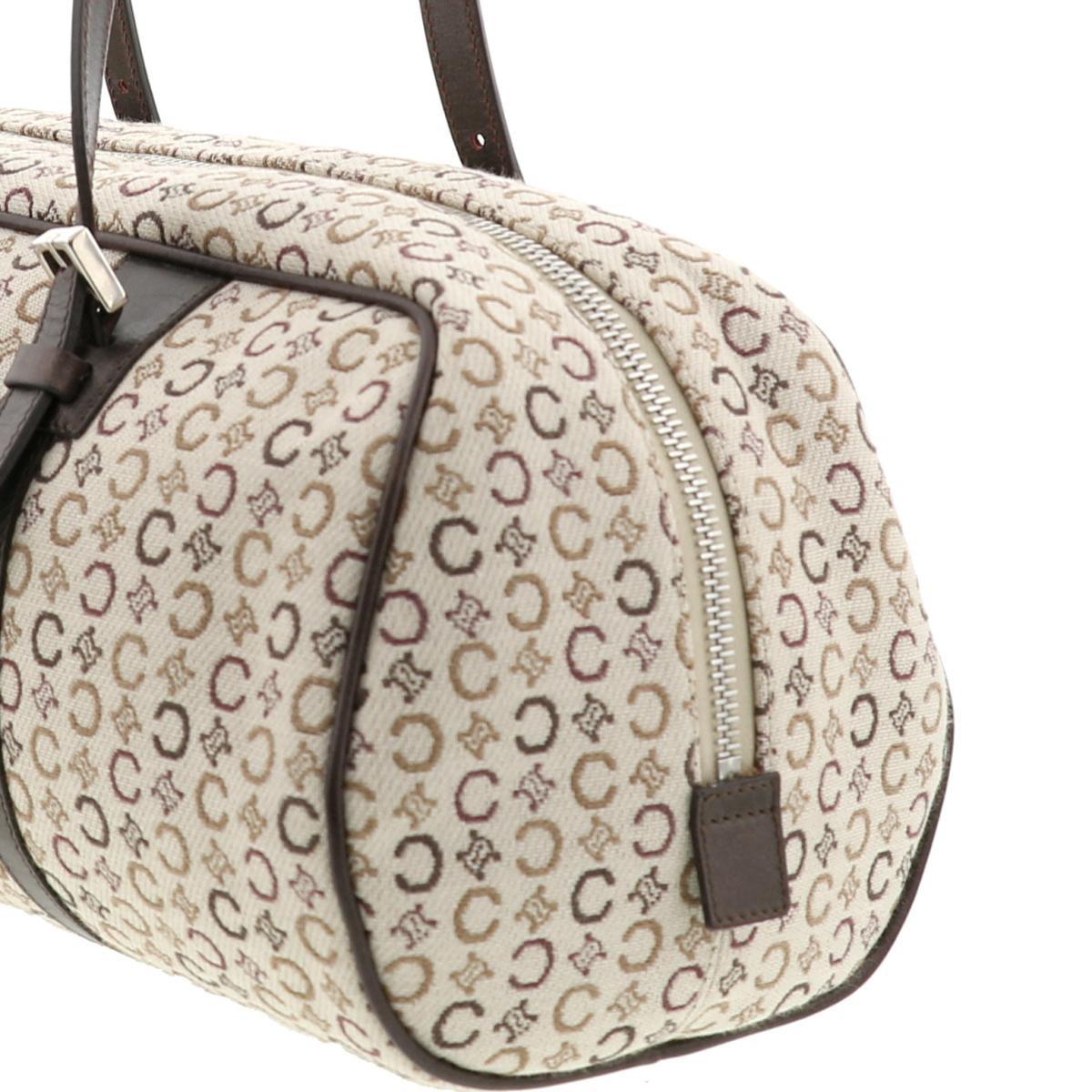 【中古】セリーヌ Cマカダム ハンドバッグ ベージュ CELINE C Macadam Handbag Beige