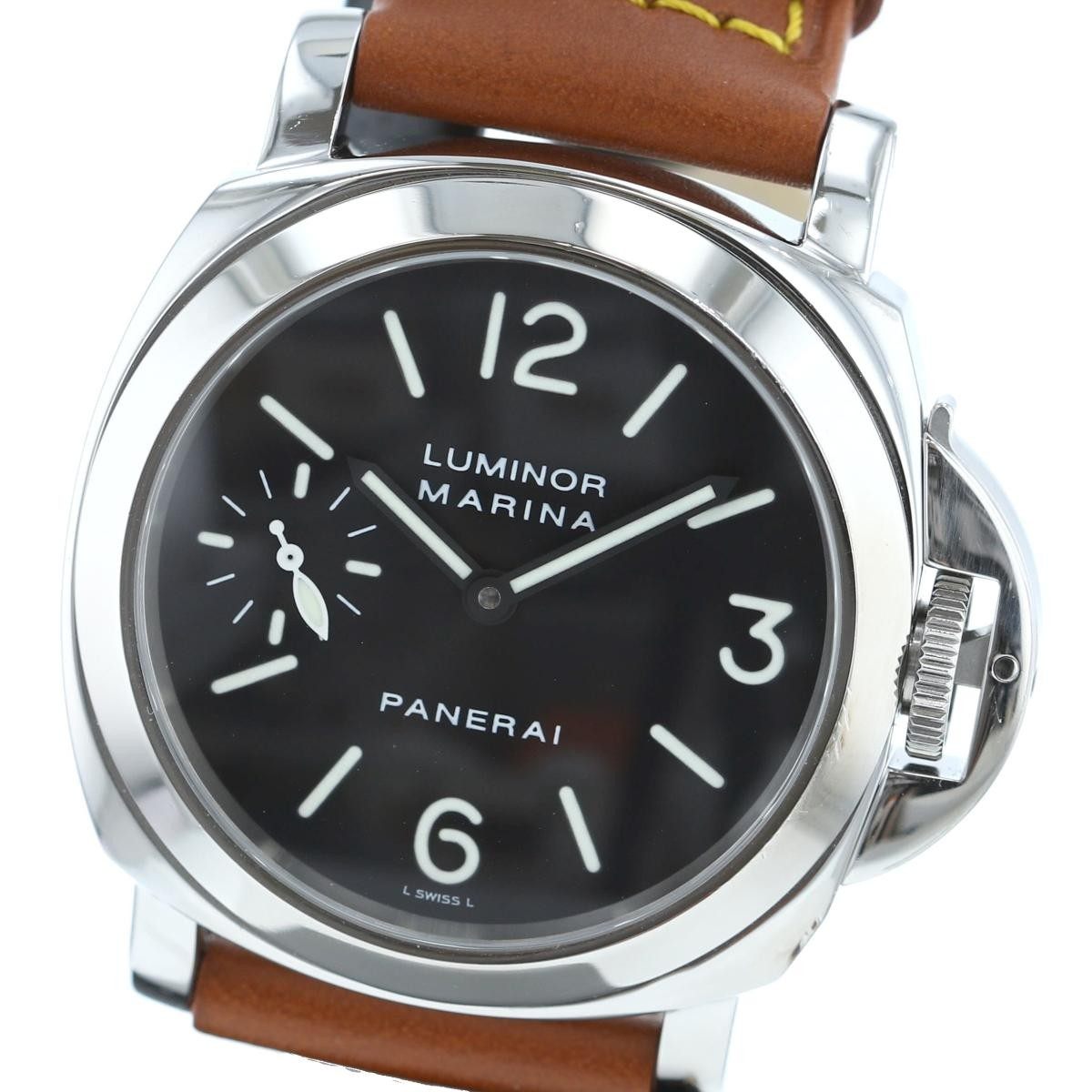 【中古】PANERAI パネライ ルミノール マリーナ 44� 時計 手巻き/メンズ  Black/ブラック PAM00001 used:A