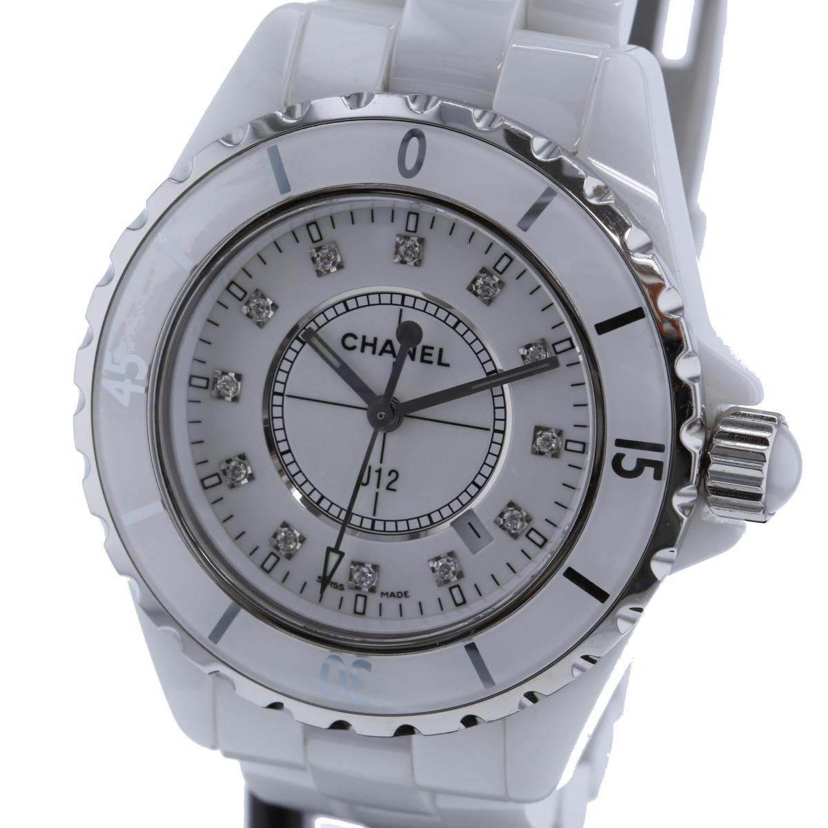 【お値下げ品】【中古】CHANEL (シャネル) J12 33� 12Pダイヤモンド 時計 クオーツ/レディース J12/White White H1628 used:B