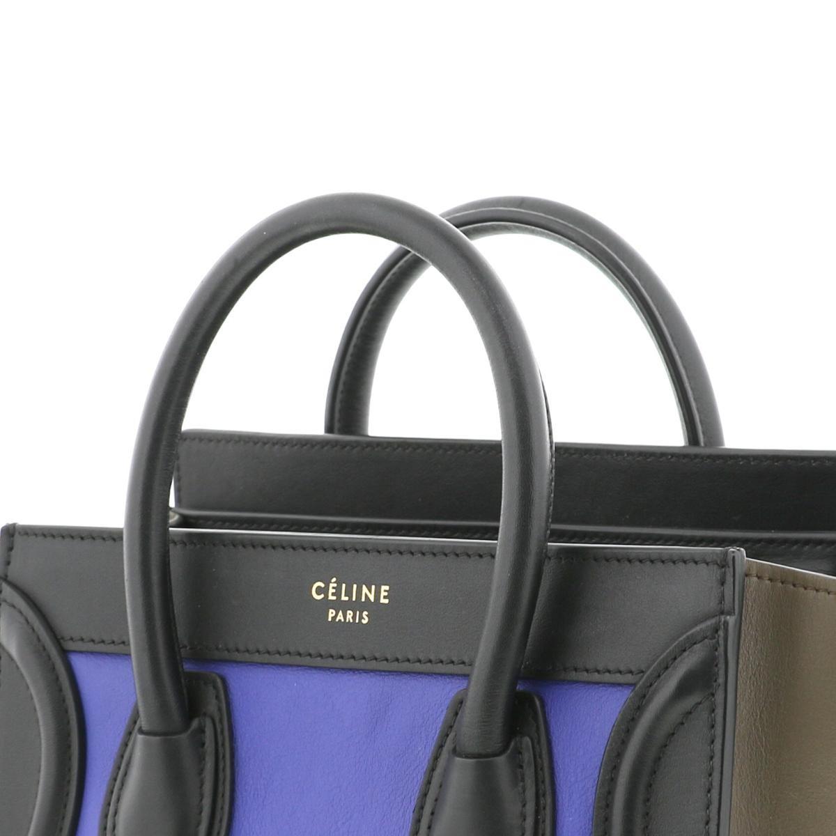 【中古】CELINE (セリーヌ) ラゲージ ナノショッパー バッグ ショルダー/メッセンジャーバッグ LUGGAGE Blue 168243 used:A