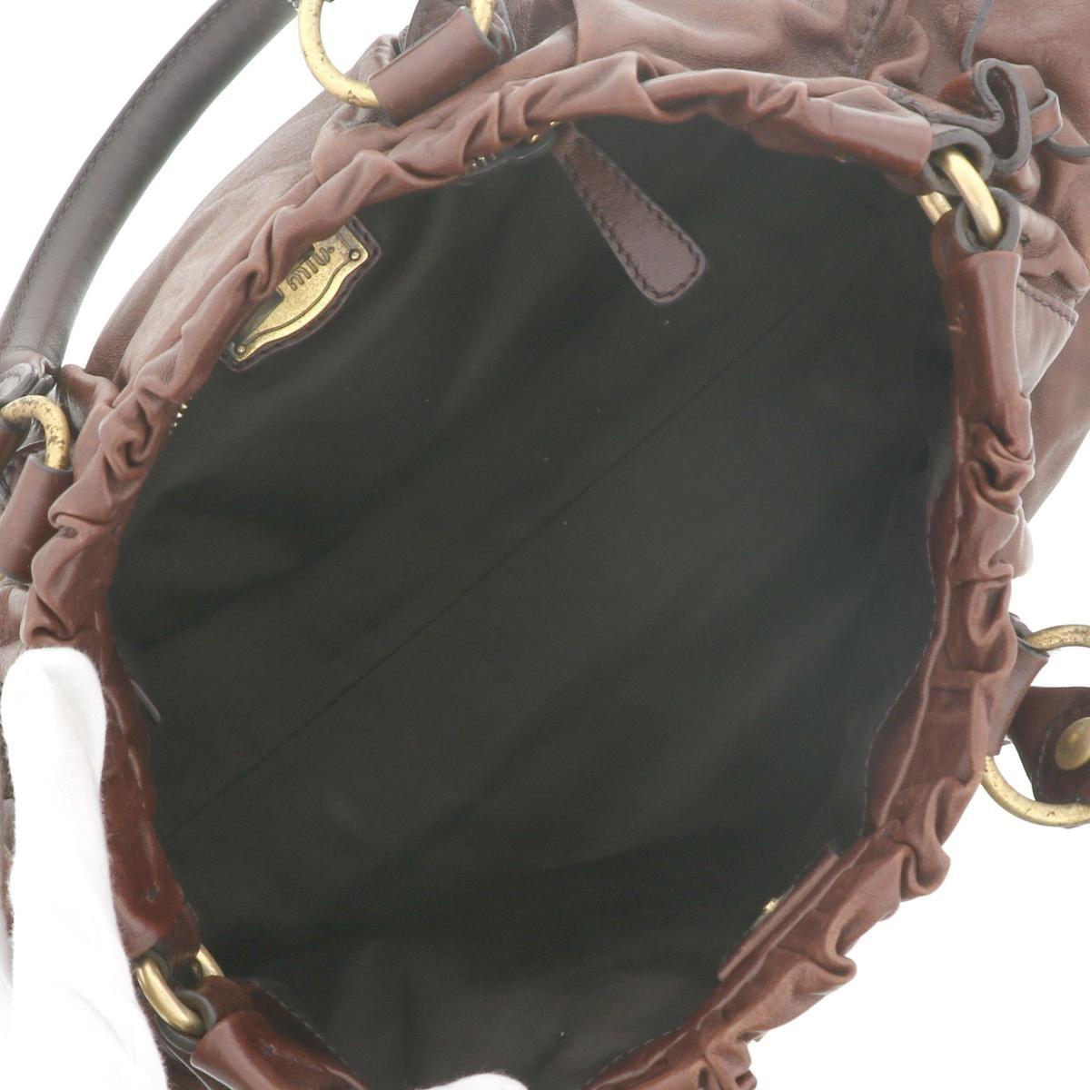 【中古】 MIUMIU (ミュウミュウ) 2WAY ハンドバッグ Brown バッグ ショルダー/メッセンジャーバッグ ハンドバッグ ブラウン